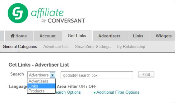CJ Affiliate get links search box